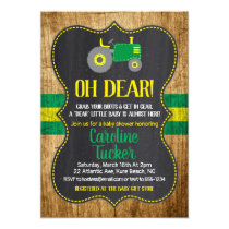 Oh Deer Tractor Baby Shower Invitation card