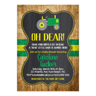 7cb13ac3c9b15 Oh Deer Tractor Baby Shower Invitation card