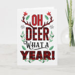Oh DEER What a Year Christmas Tartan Typography Holiday Card