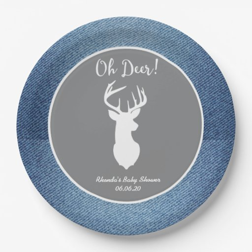 Oh Deer White Buck Custom Denim Gray Party Plates