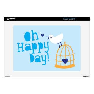 ¡Oh día feliz! con el pájaro azul Portátil 38,1cm Skins