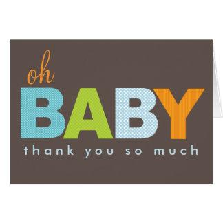 Oh el bebé moderno del bebé le agradece tarjeta de