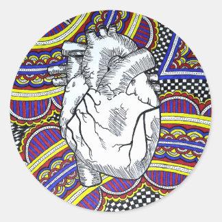 Oh el corazón pegatina redonda