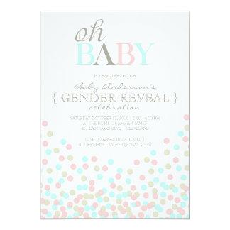 """Oh el género del confeti del bebé revela el azul invitación 5"""" x 7"""""""