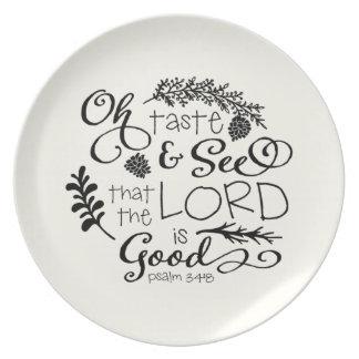 Oh el gusto y considera la placa de cena/la marfil plato de cena