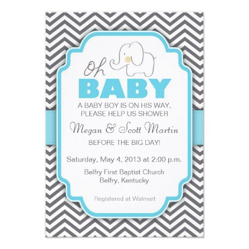 Oh elefante del bebé - la fiesta de bienvenida al  invitaciones personales