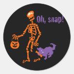 Oh, esqueleto rápido pegatinas redondas