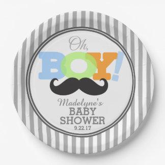 Oh fiesta de bienvenida al bebé del bigote platos de papel