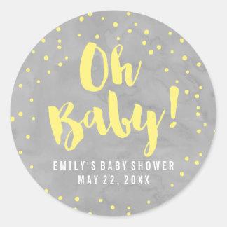 Oh fiesta de bienvenida al bebé gris y amarilla pegatina redonda