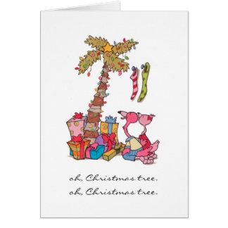 Oh, flamenco del árbol de navidad tarjeta pequeña