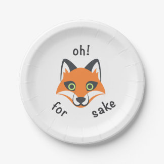 Oh! For Fox Sake phrase Emoji cartoon Paper Plate