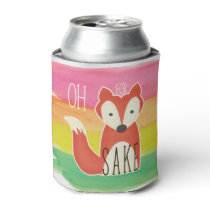 Oh For Fox Sake Watercolor Stripes Can Cooler