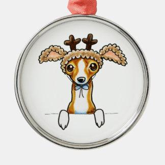 Oh galgo italiano de los ciervos adorno navideño redondo de metal