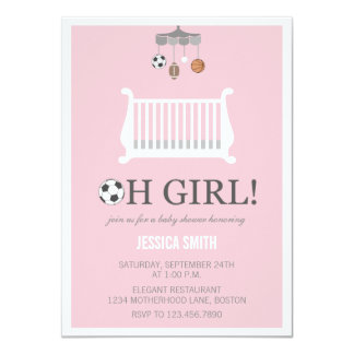 """Oh Girl Pink Baby Shower Invitations 
