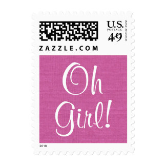 Oh Girl!  Pink Baby Shower or Announcement V3 Postage Stamp