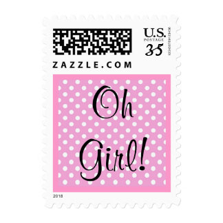 Oh Girl! Pink Polka Dots Baby Shower Postage