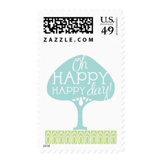 Oh Happy Day Modern Tree Postage stamp
