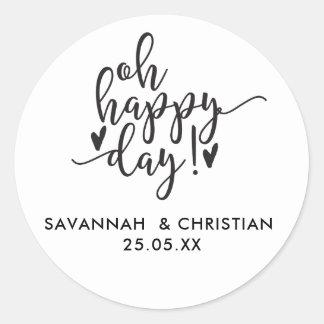 Oh Happy Day Script Personalized Wedding  Sticker