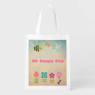 Oh Happy Day Whimsical Bumble Bee and Flowers Reusable Grocery Bag