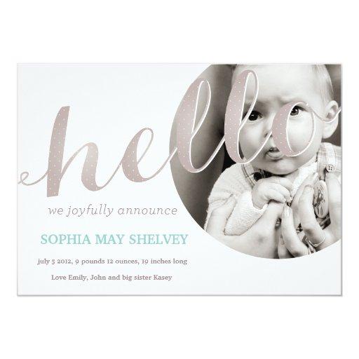 Oh hola tarjeta de la invitación del nacimiento