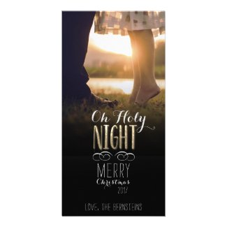Oh Holy Night Gold Photo Christmas Card