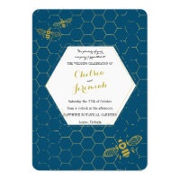 Oh Honey Bee Teal Gold Custom Wedding Invitation