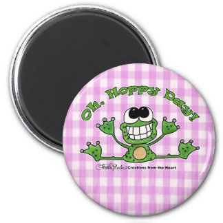Oh, Hoppy Day-Frog 2 Inch Round Magnet