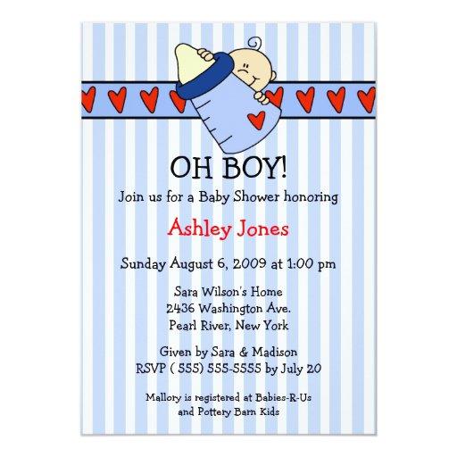 Oh invitaciones de la fiesta de bienvenida al bebé comunicados personales