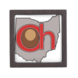 Oh! io! Ohio in Red and Gray with a Buckeye Jewelry Box