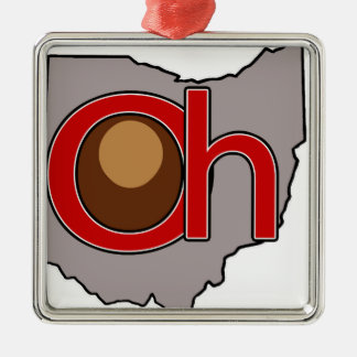 Oh! io! Ohio in Red and Gray with a Buckeye Metal Ornament