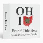 OH IO Typographic Ohio Vintage Red Buckeye Nut 3 Ring Binder