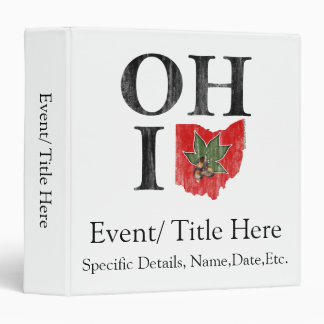 OH IO Typographic Ohio Vintage Red Buckeye Nut 3 Ring Binder