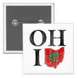OH IO Typographic Ohio Vintage Red Buckeye Nut 2 Inch Square Button