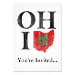 "OH IO Typographic Ohio Vintage Red Buckeye Nut 5"" X 7"" Invitation Card"