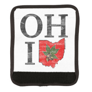 OH IO Typographic Ohio Vintage Red Buckeye Nut Luggage Handle Wrap