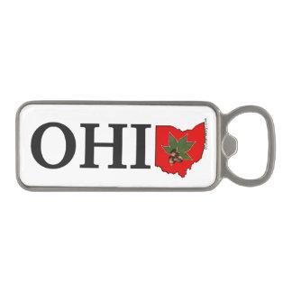 OH IO Typographic Ohio Vintage Red Buckeye Nut Magnetic Bottle Opener