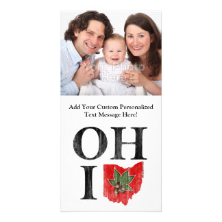 OH IO Typographic Ohio Vintage Red Buckeye Nut Personalized Photo Card