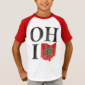 OH IO Typographic Ohio Vintage Red Buckeye Nut T-Shirt