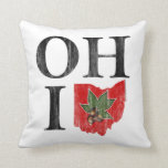 OH IO Typographic Ohio Vintage Red Buckeye Nut Throw Pillow