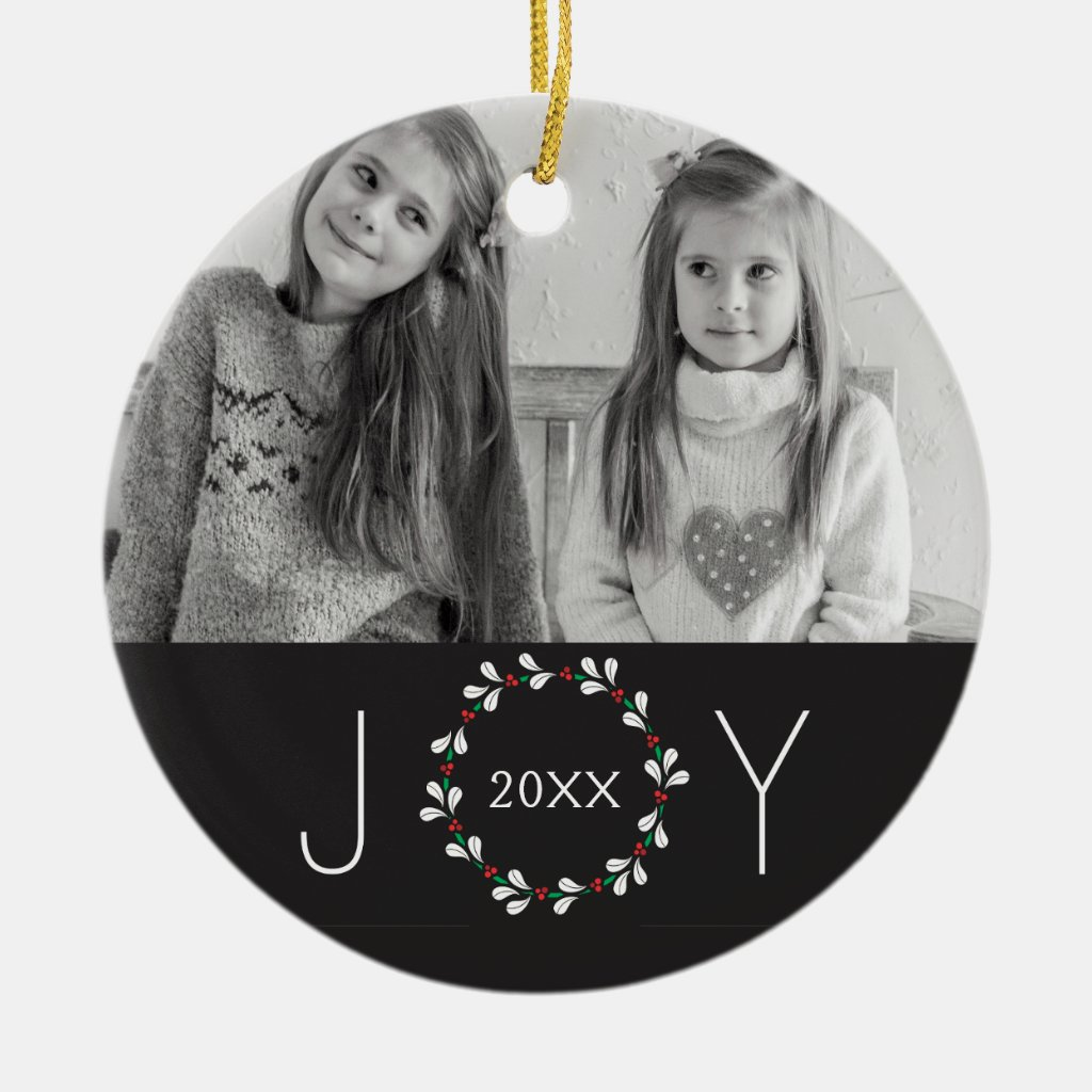 Oh Joy Christmas Wreath Photo Ceramic Ornament