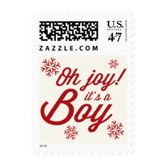 Oh Joy It's a Boy Baby 1st Christmas Holiday Stamp