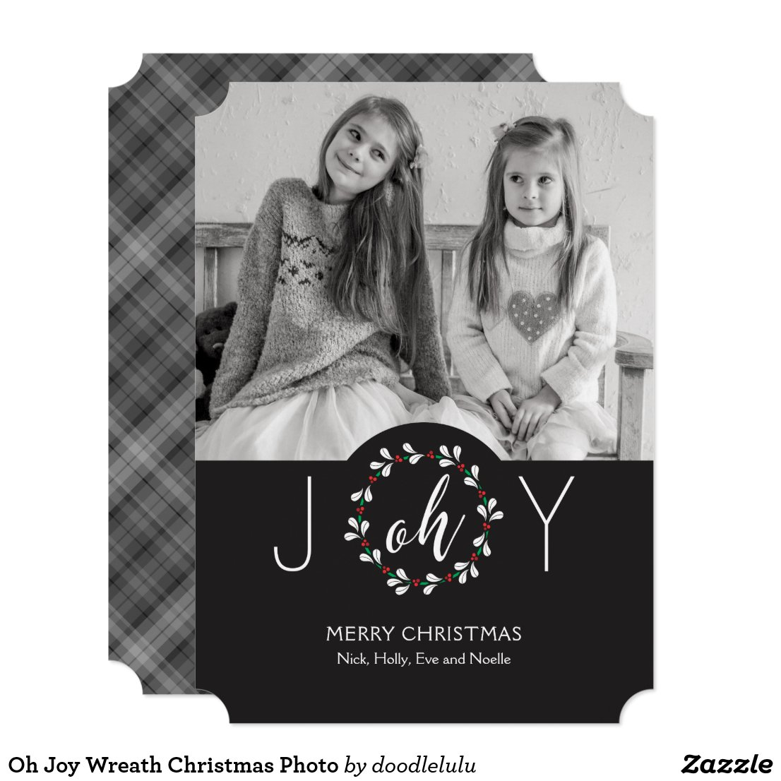 Oh Joy Wreath Christmas Photo Invitation