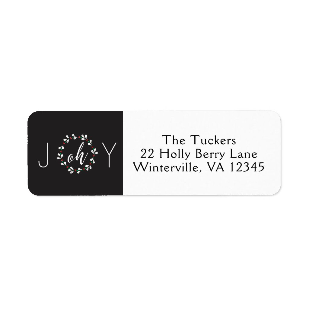 Oh Joy Wreath Christmas Return Address Label