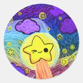 Oh Kawaii, Starry Rainbow Night Classic Round Sticker