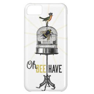 Oh la abeja tiene la jaula de pájaros y corona de  carcasa iPhone 5C