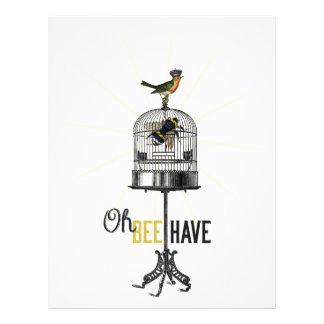 Oh la abeja tiene la jaula de pájaros y corona de plantilla de membrete