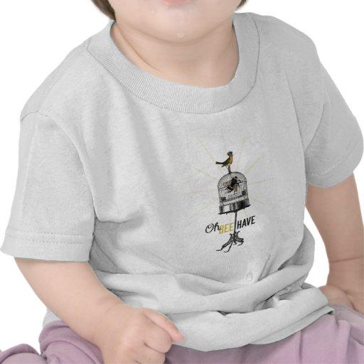 Oh la abeja tiene la jaula de pájaros y corona de  camisetas