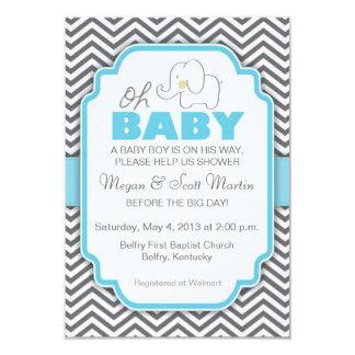 Oh la fiesta de bienvenida al bebé azul y gris del invitaciones personales
