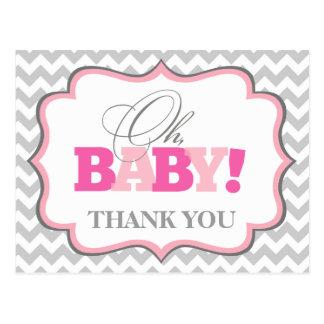 Oh la fiesta de bienvenida al bebé de la niña le tarjeta postal
