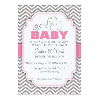 """Oh la fiesta de bienvenida al bebé rosada y gris invitación 3.5"""" x 5"""""""